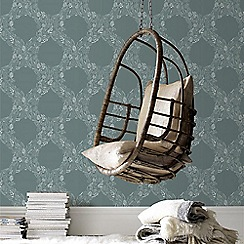 Graham & Brown - Green Cloe Damask Wallpaper