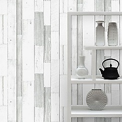 Superfresco Easy - Grey Paste the Wall Wood Panel Wallpaper