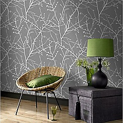 Superfresco Easy - Charcoal & Silver Innocence Twig Wallpaper