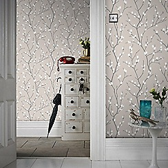 Superfresco Easy - Taupe & Charcoal Karma Floral Buds Wallpaper