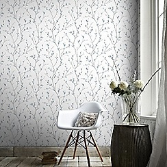Superfresco Easy - White & Teal Karma Floral Buds Wallpaper