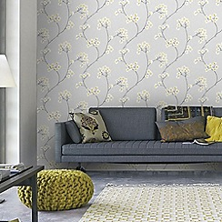 Superfresco Easy - Grey & Ochre Radiance Delicate Floral Wallpaper