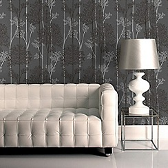 Superfresco Easy - Charcoal & Silver Eternal Forest Wallpaper