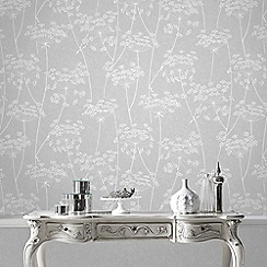 Superfresco Easy - Grey Aura Sprig Motif Wallpaper