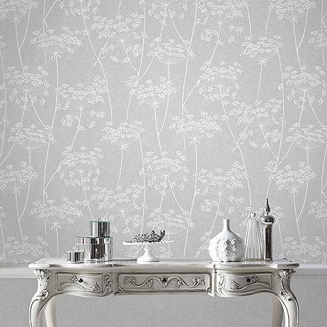 Superfresco Easy Grey Aura Sprig Motif Wallpaper Debenhams