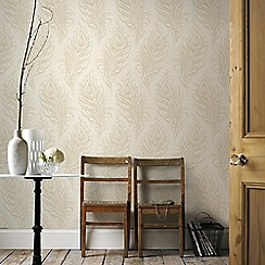 Graham & Brown - Cream Quill Leaf Print Wallpaper