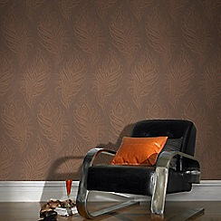 Graham & Brown - Copper Quill Leaf Print Wallpaper