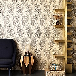Graham & Brown - Gold Quill Leaf Print Wallpaper
