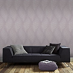 Graham & Brown - Light Purple Quill Leaf Print Wallpaper