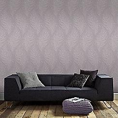 Graham & Brown - Light Purple Quill Leaf Print Wallpaper