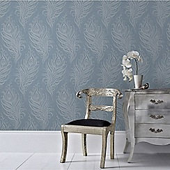Graham & Brown - Blue Quill Leaf Print Wallpaper