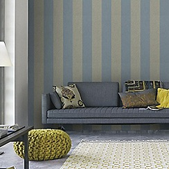 Graham & Brown - Blue Artisan Stripe Wallpaper