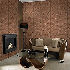 Graham & Brown - Copper Gloriana Damask Wallpaper