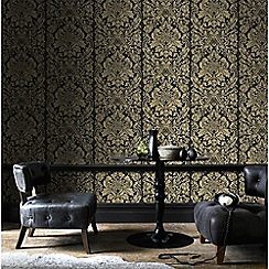 Graham & Brown - Gold Gloriana Damask Wallpaper