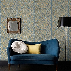 Graham & Brown - Blue Gloriana Damask Wallpaper