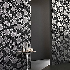 Graham & Brown - Black Mystique Floral Wallpaper