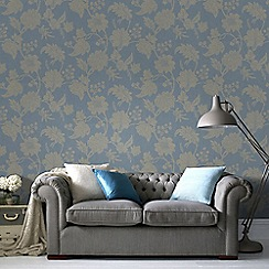 Graham & Brown - Blue Mystique Floral Wallpaper