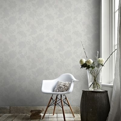 Graham & Brown Light Grey Mystique Floral Wallpaper