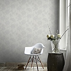 Graham & Brown - Light Grey Mystique Floral Wallpaper