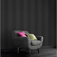 Graham & Brown - Dark Grey Artisan Stripe Wallpaper