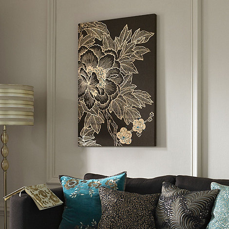 Monsoon Home - Choc Lhasa lotus embellished fabric canvas wall art