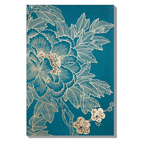 Monsoon Home - Teal Lhasa lotus embellished fabric canvas wall art