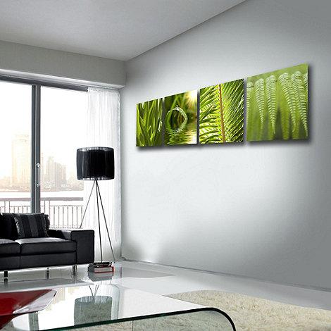 Graham & Brown - Printed canvas green leaf quad wall art