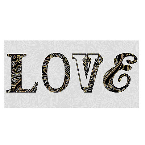 Monsoon Home - Gold Monsoon Sequined Love Wall Art