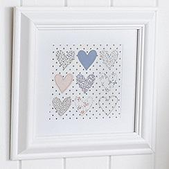 Graham & Brown - Beige Polka Dot Heart Framed Wall art