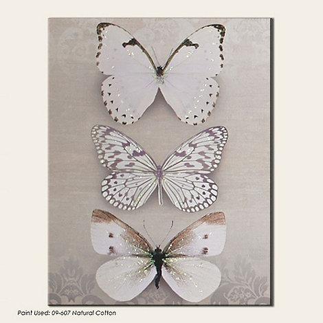 Graham & Brown - Beige Butterfly Trio Canvas Wallart