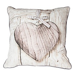 Graham & Brown - Neutral Wooden Heart Cushion