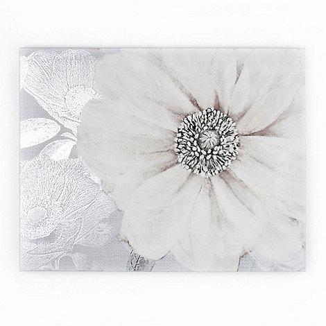 Graham & Brown - White Grey Bloom Printed Canvas