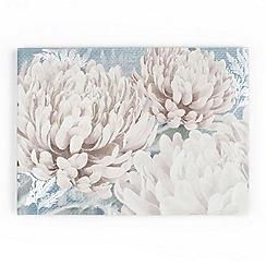 Graham & Brown - Beige Teal Bloom Printed Canvas