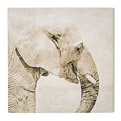 Graham & Brown - Trunk Elephant Animal Neutral Tones Linen Textured Printed Canvas Wall Art