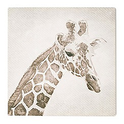 Graham & Brown - Patch Giraffe Animal Neutral Tones Linen Textured Printed Canvas Wall Art