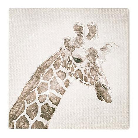 Graham & Brown - Patch Giraffe Animal Neutral Tones Linen Textured Printed Canvas Wall Art