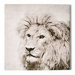Graham & Brown - Roar Lion Animal Neutral Tones Linen Textured Printed Canvas Wall Art