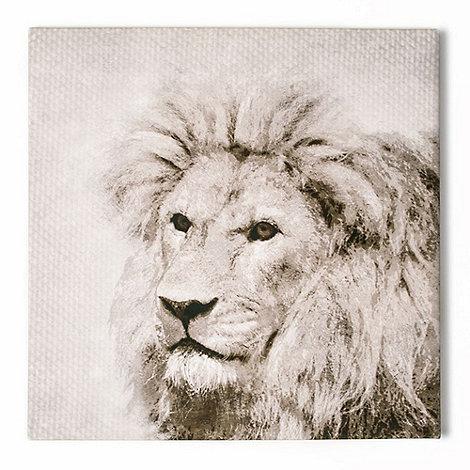 Graham & Brown - Roar Lion Animal Neutral Tones Linen Textured Printed Canvas Wall Art