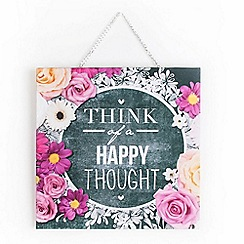 Graham & Brown - Happy Thoughts Inspirational Quote Chalkboard Printed Canvas Wall Art
