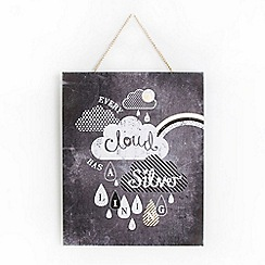 Graham & Brown - Every Cloud Inspirational Quote Chalkboard Printed Canvas Wall Art