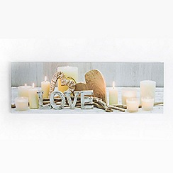 Graham & Brown - Love Led Light Up Heritage Natural Candles Printed Canvas Wall Art