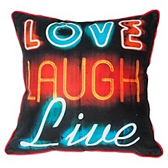 Graham & Brown - Black Neon Type Cushion
