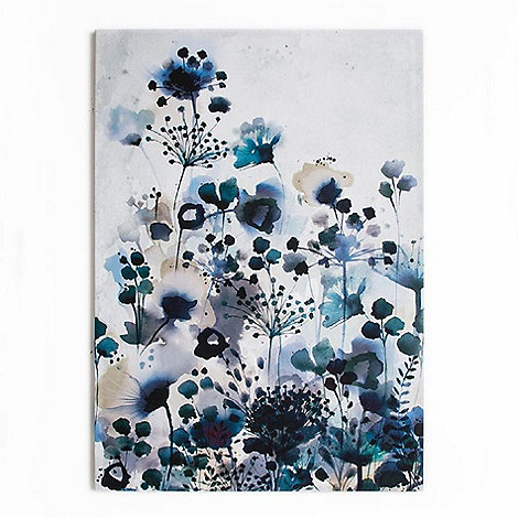 Graham & Brown - Moody Blue Floral Watercolour Printed Canvas Wall Art