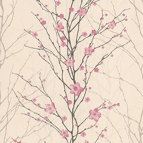 Graham & Brown - Pink/cream Vitality Floral wallpaper