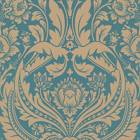 Graham & Brown - Teal/gold Desire wallpaper