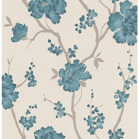 Laurence Llewelyn-Bowen - Teal Love Letter wallpaper