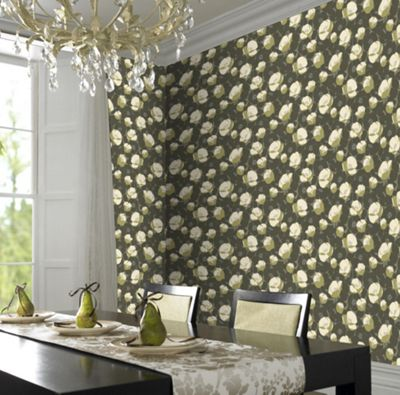 Amy Butler Moss Field Poppies wallpaper - . -
