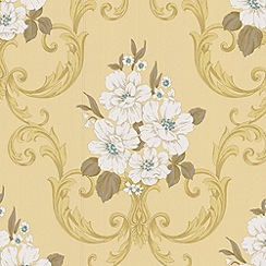 Graham & Brown - Pale mustard Dauphin wallpaper
