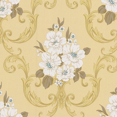 Graham & Brown - Pale mustard Dauphin wallpaper