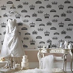 Graham & Brown - Black/white Crowns & Coronets wallpaper